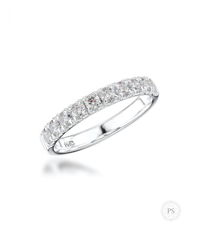 0.53ct Platinum Scallop Set Diamond Wedding Band