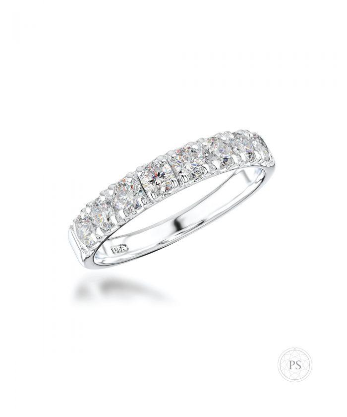 0.74ct Platinum Scallop Set Diamond Wedding Band