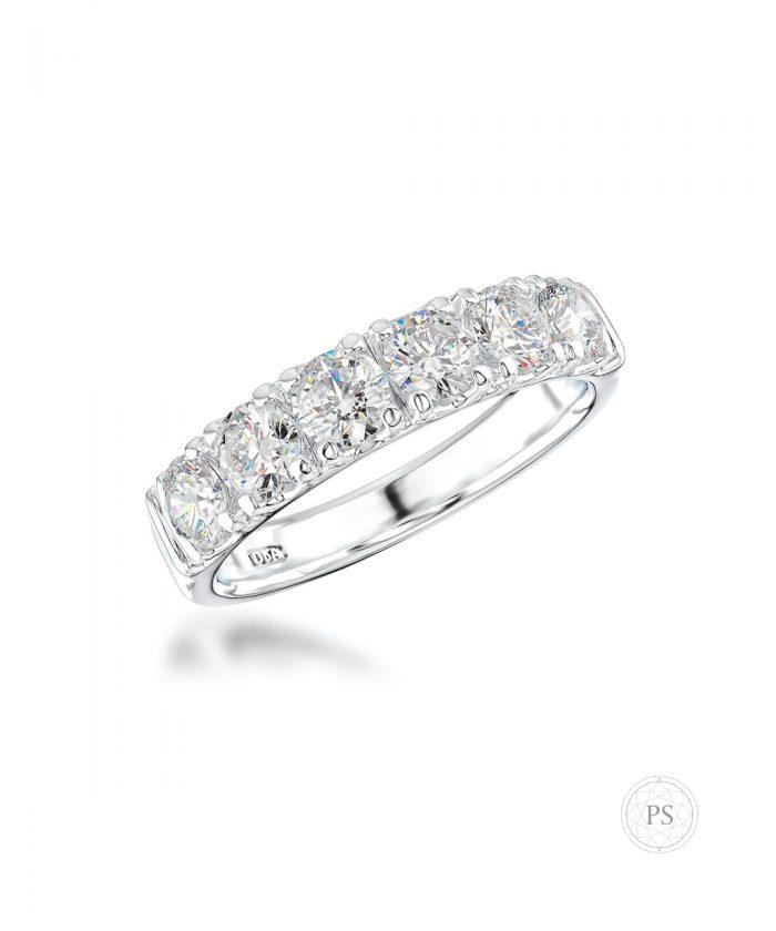 1.13ct Platinum Scallop Set Diamond Wedding Band