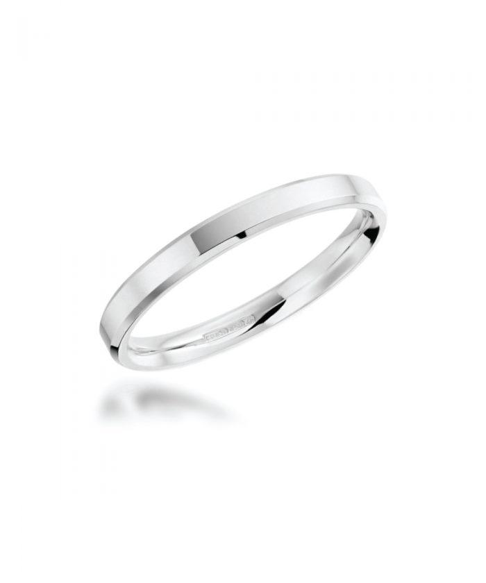 2mm Platinum Bevelled Edge Wedding Band