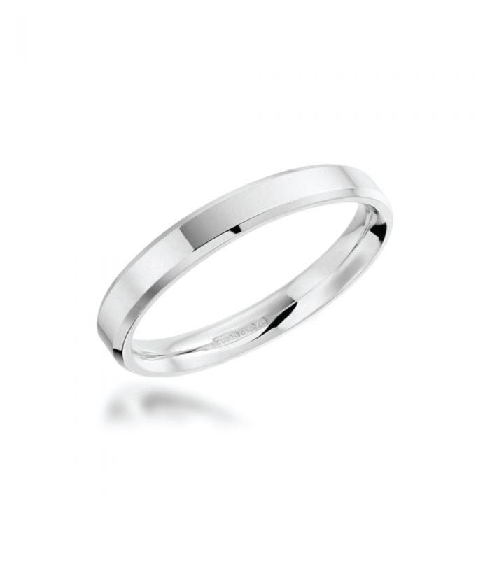 3mm Platinum Bevelled Edge Wedding Band