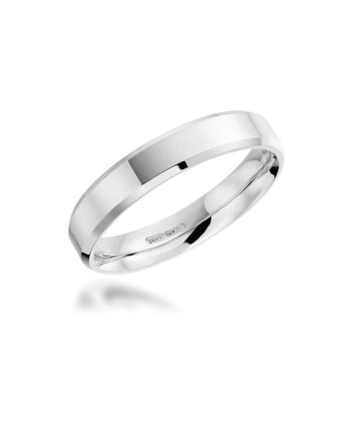 4mm Platinum Bevelled Edge Wedding Band