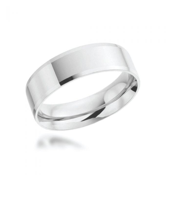 5mm Platinum Bevelled Edge Wedding Band
