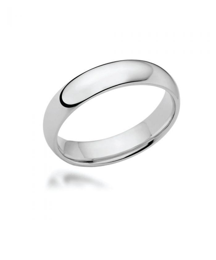 5mm Platinum Court Shaped Wedding Band