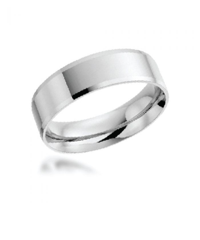 6mm Platinum Bevelled Edge Wedding Band