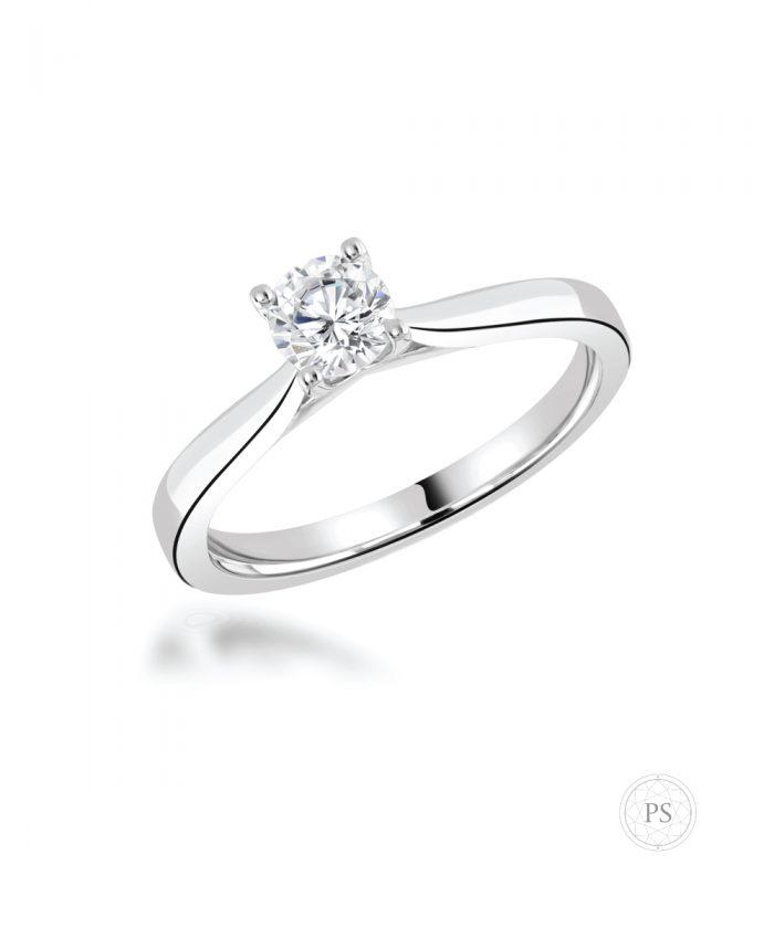 Platinum 0.30ct Cathedral Round Brilliant Diamond Ring