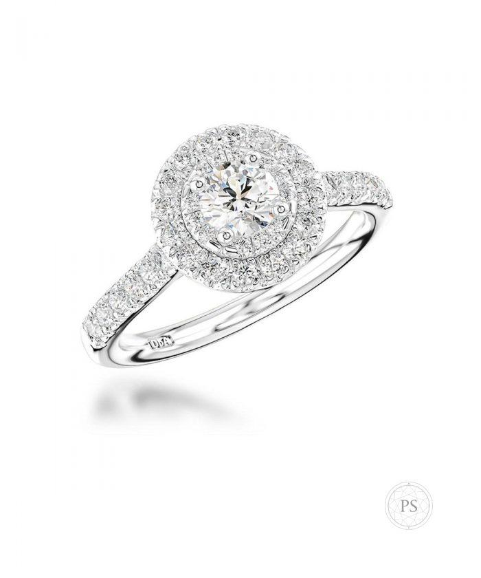 0.30ct Round Brilliant Diamond Illusion Set Halo Engagement Ring