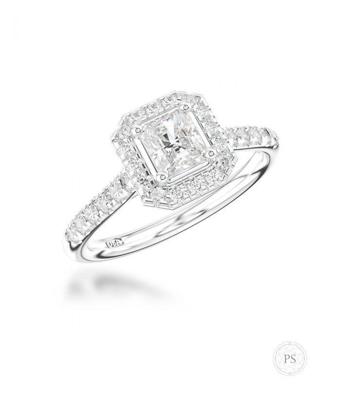 0.40ct Radiant Cut Diamond Halo Ring