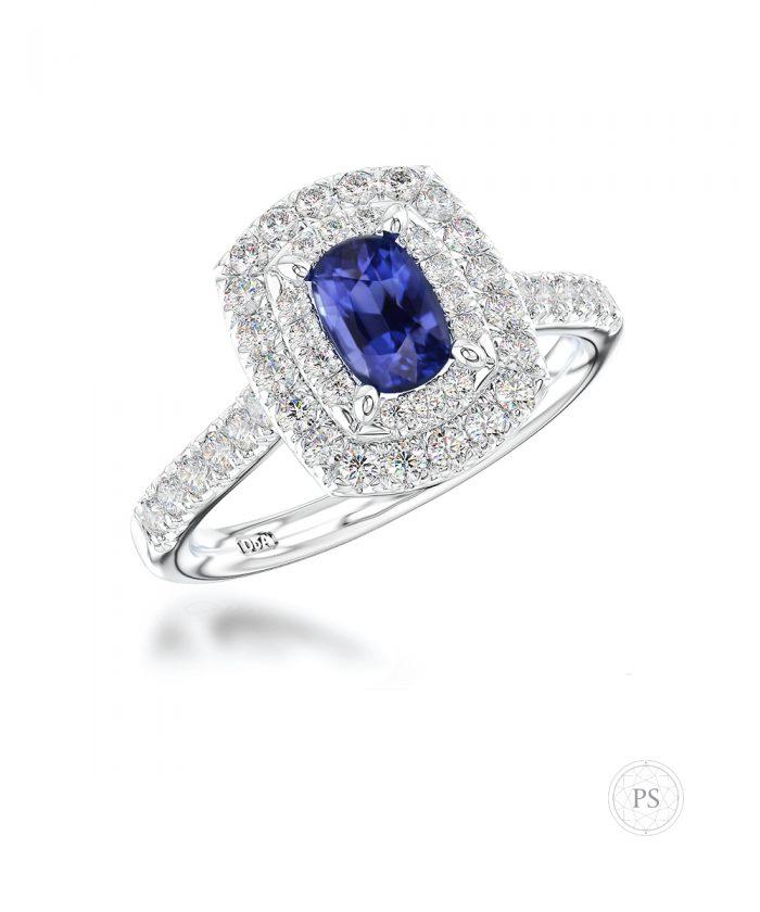 0.50ct Cushion Cut Sapphire & Diamond Double Halo Ring