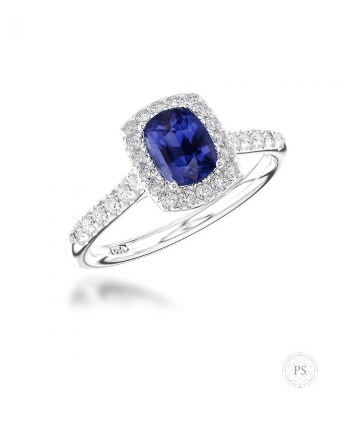 0.50ct Cushion Sapphire & DiamondCluster Ring