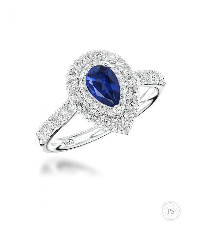 0.50ct Pear Cut Sapphire & Diamond Illusion Set Ring