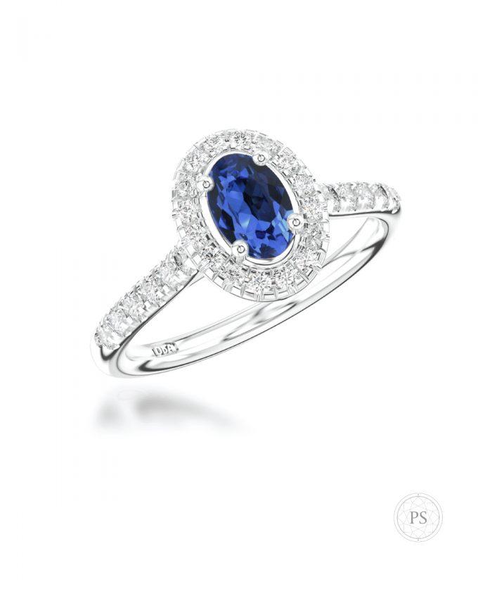 0.50ct Sapphire & Diamond Scallop Halo Ring