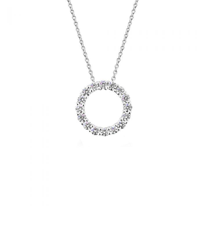 0.50ct White Gold & Diamond Circle Pendant