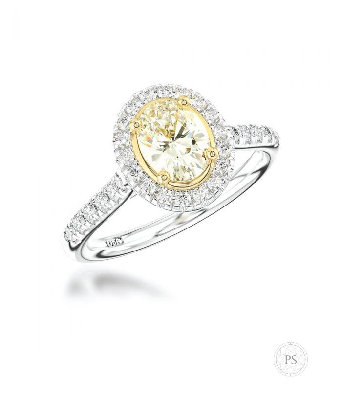 0.50ct Yellow Diamond Two Tone Halo Ring