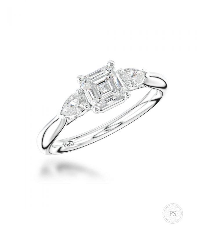 0.70ct Asscher & Pear Cut Diamond Trilogy Ring