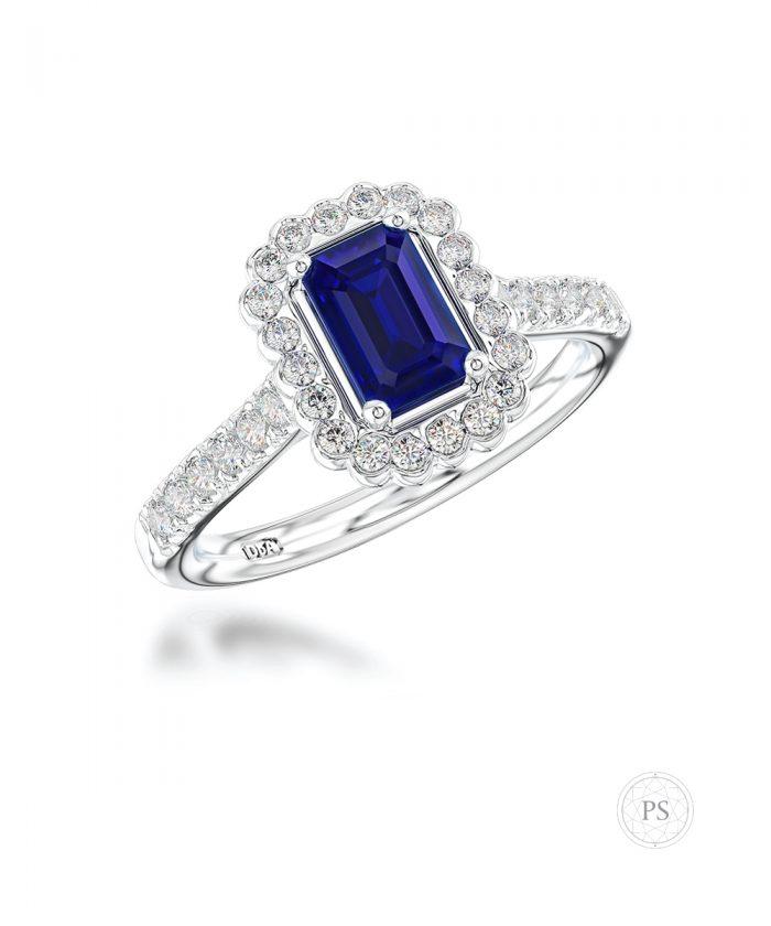 0.70ct Emerald Cut Sapphire & Diamond Halo Ring