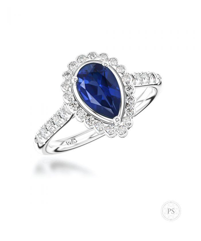 0.70ct Pear Sapphire & Diamond Cluster Ring