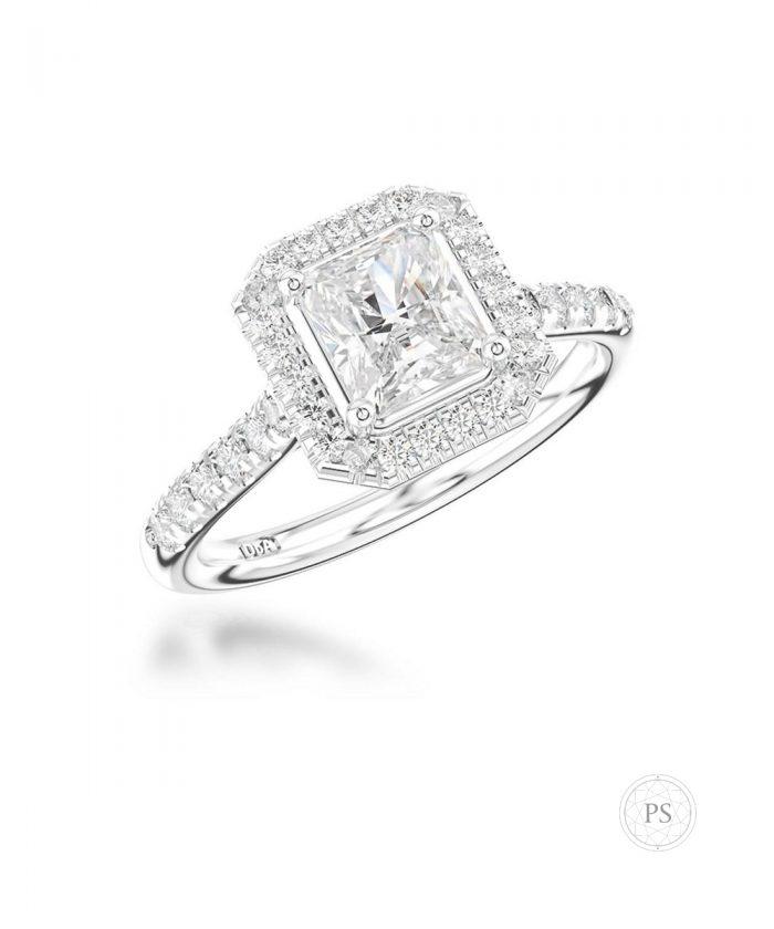 0.70ct Radiant Cut Diamond Halo Ring