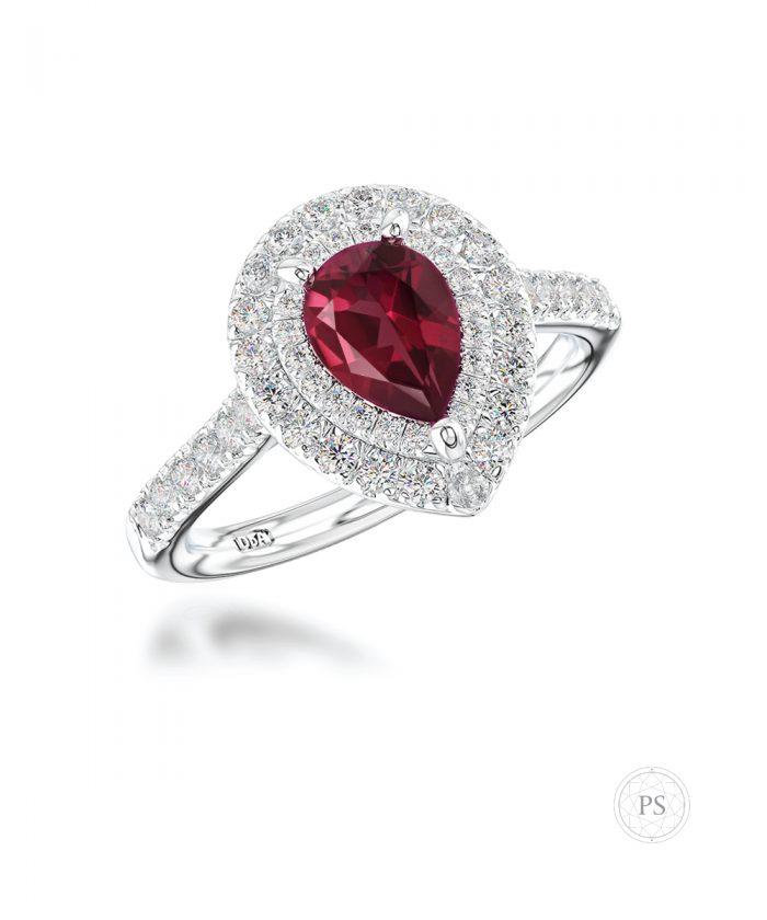 0.70ct Ruby & Diamond Double Halo Ring