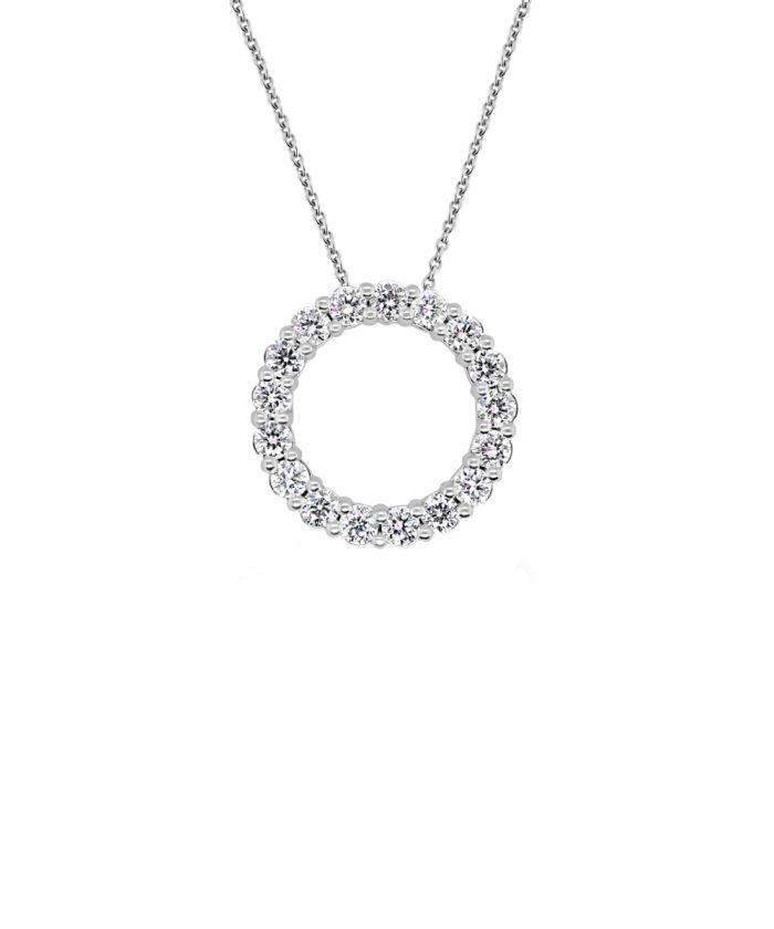 0.75ct White Gold & Diamond Circle Pendant