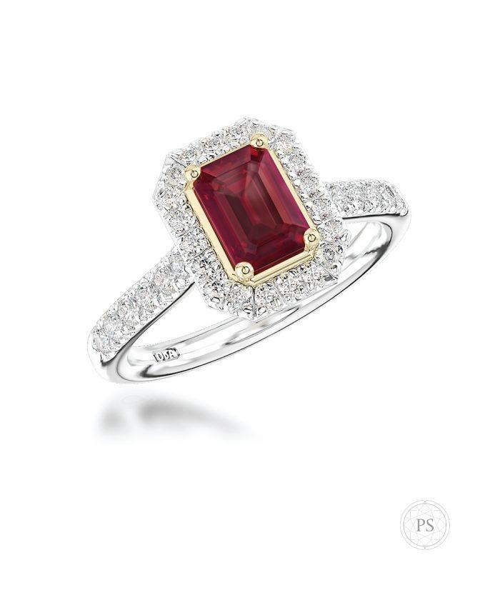 1.00ct Emerald Cut Ruby & Diamond Halo Ring