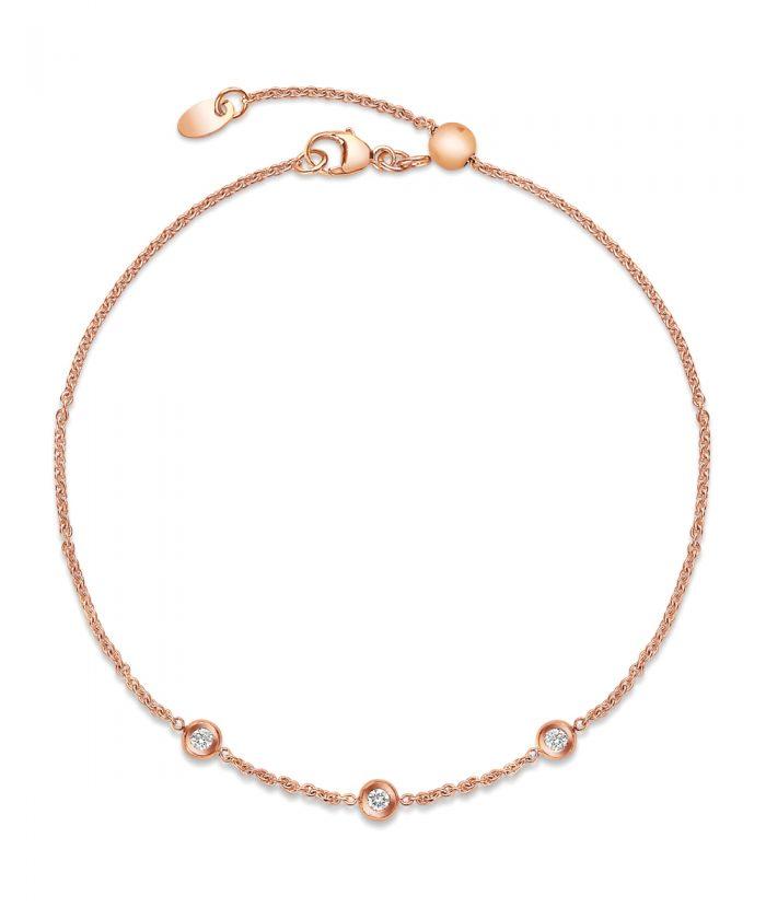 18ct Rose Gold Diamond Chain Bracelet