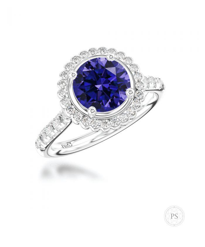 1ct Sapphire & Diamond Scalloped Halo Ring
