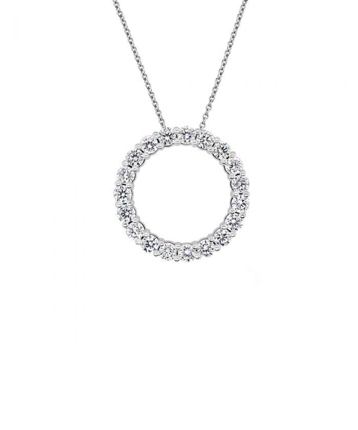 1ct White Gold & Diamond Circle Pendant
