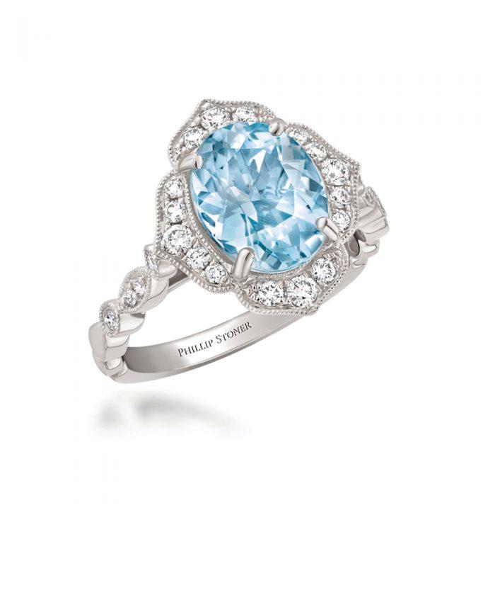 Aquamarine & Diamond Vintage Inspired Cocktail Ring