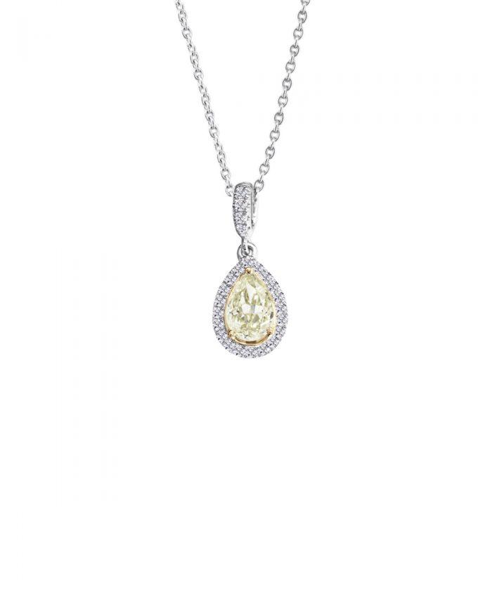 Blush Pear Cut Diamond Pendant