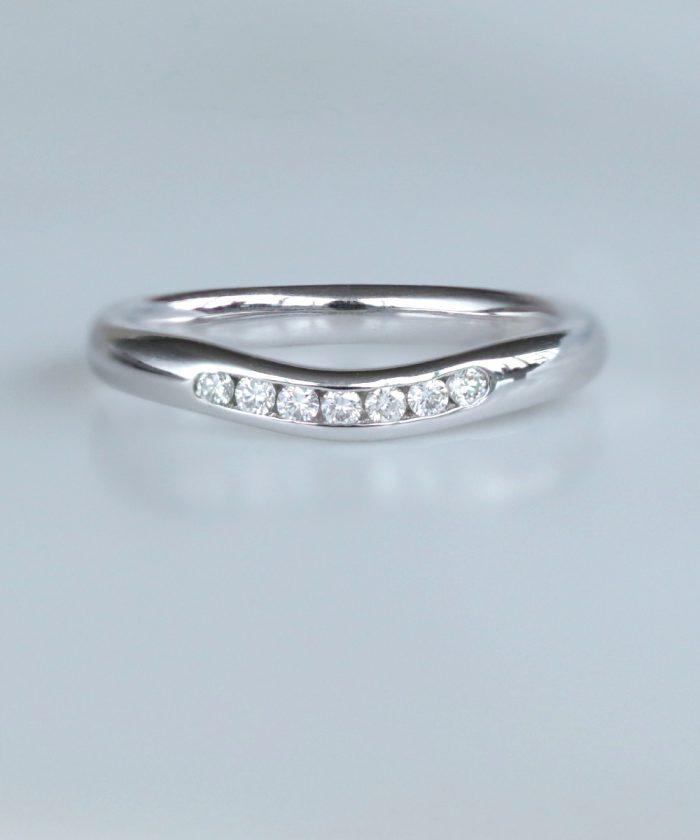 Curved Channel Set Diamond Wedding Ring