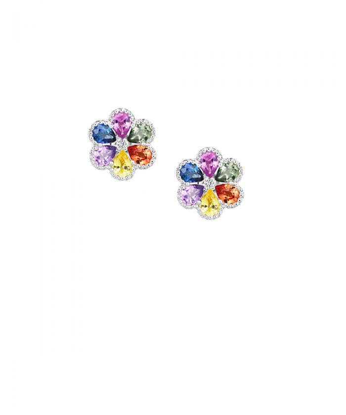 Fancy Sapphire & Diamond Flower Earrings