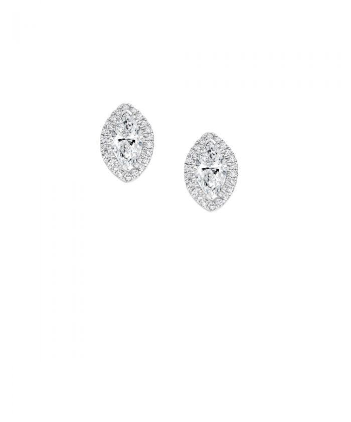 Marquise Diamond Halo Stud Earrings