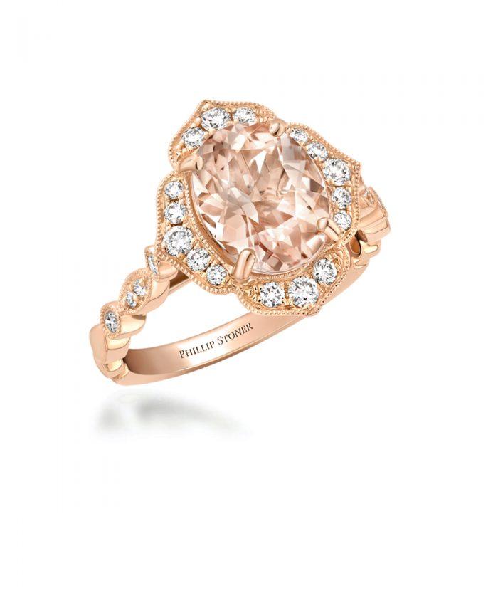 Morganite & Diamond Vintage Inspired Cocktail Ring