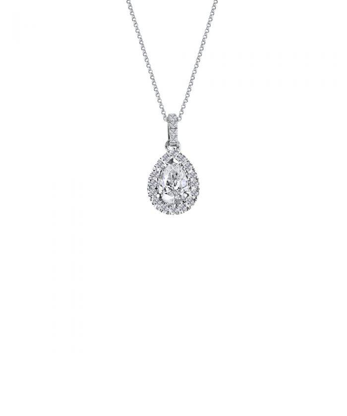 Pear Cut Diamond Halo Pendant