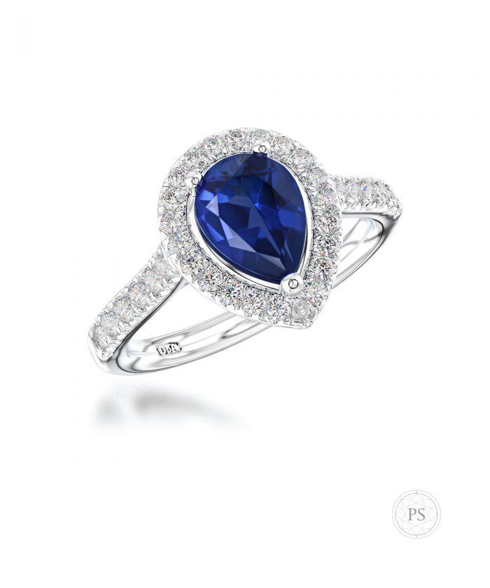 Pear Cut Sapphire & Diamond Halo Engagement Ring