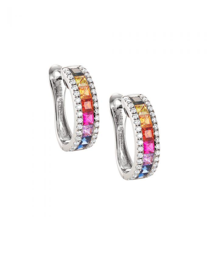 Rainbow Sapphire & Diamond Large Hoop Earrings