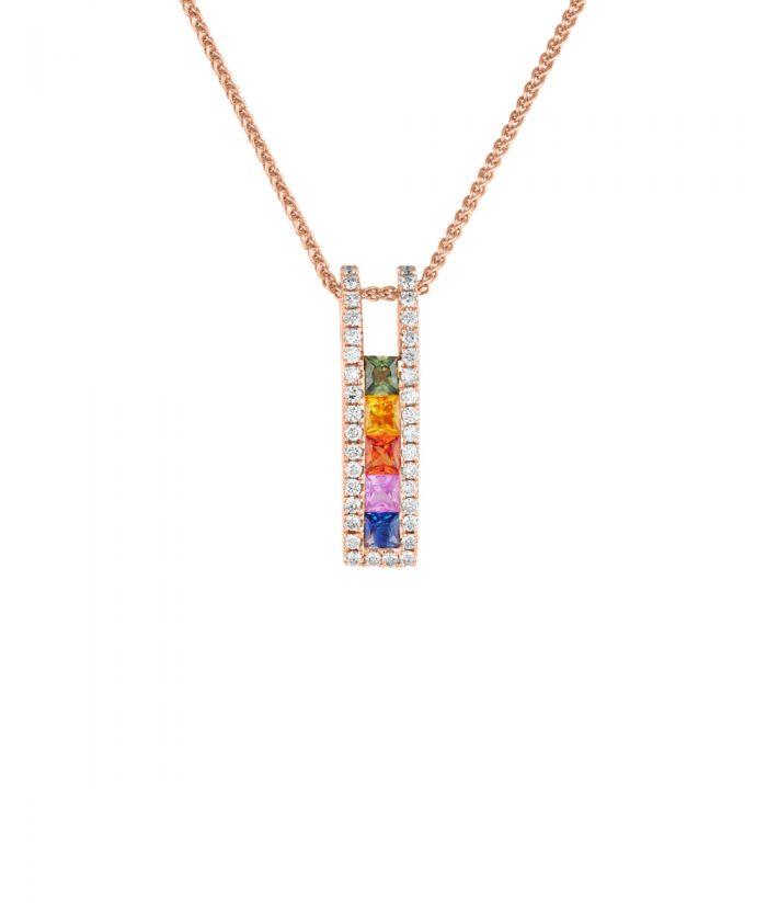 Rainbow Sapphire & Diamond Rose Gold Pendant