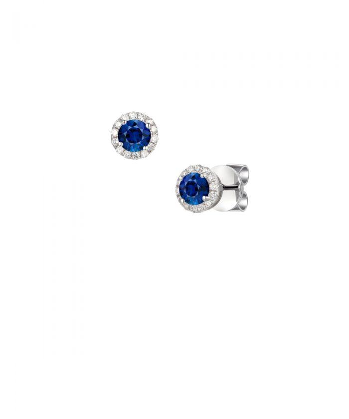 Sapphire & Diamond Cluster Stud Earrings