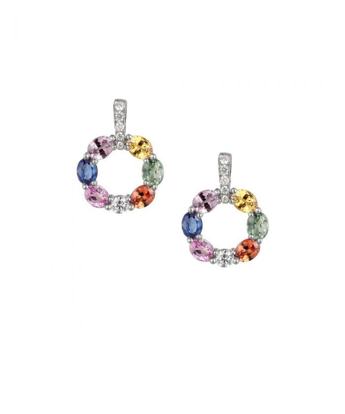 Sapphire & Diamond Loop Drop Earrings