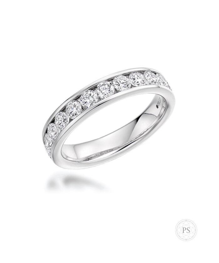 1ct Channel Set Round Brilliant Cut Diamond Eternity Ring
