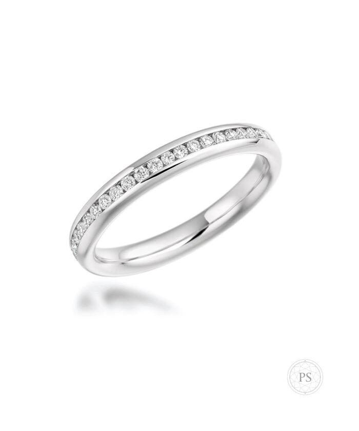 Full Channel Set Round Diamond Eternity Ring