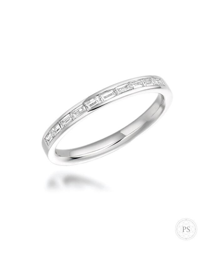 Platinum Baguette Cut Diamond Wedding Band