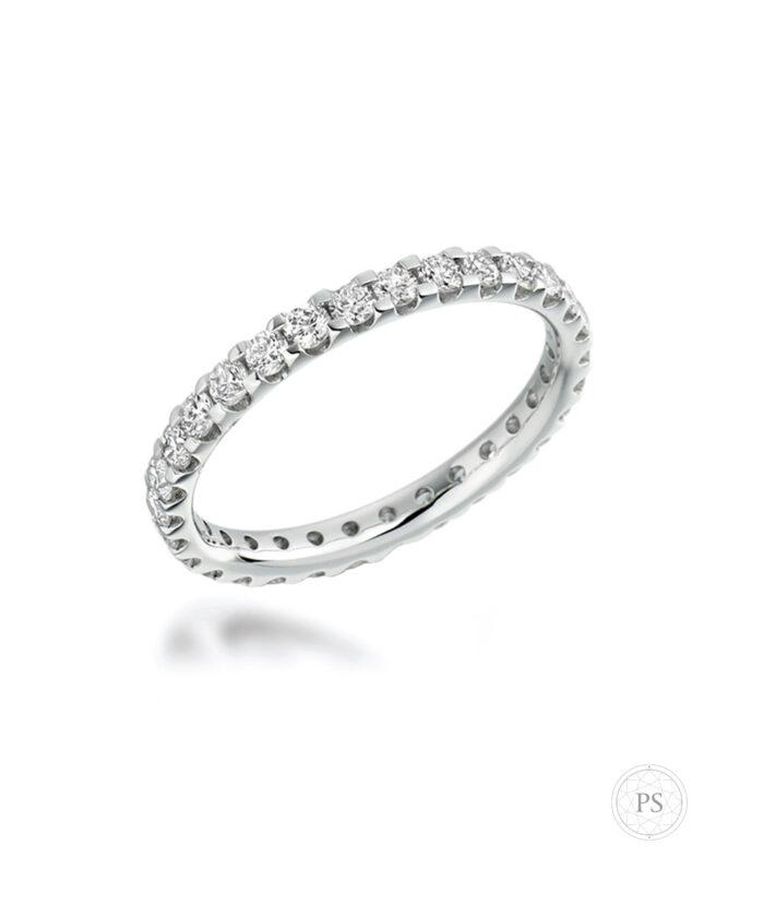 Platinum Full Claw Set Diamond Eternity Ring