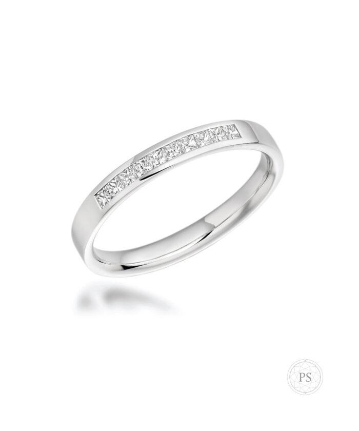 Platinum Princess Cut Diamond Channel Set Wedding Ring