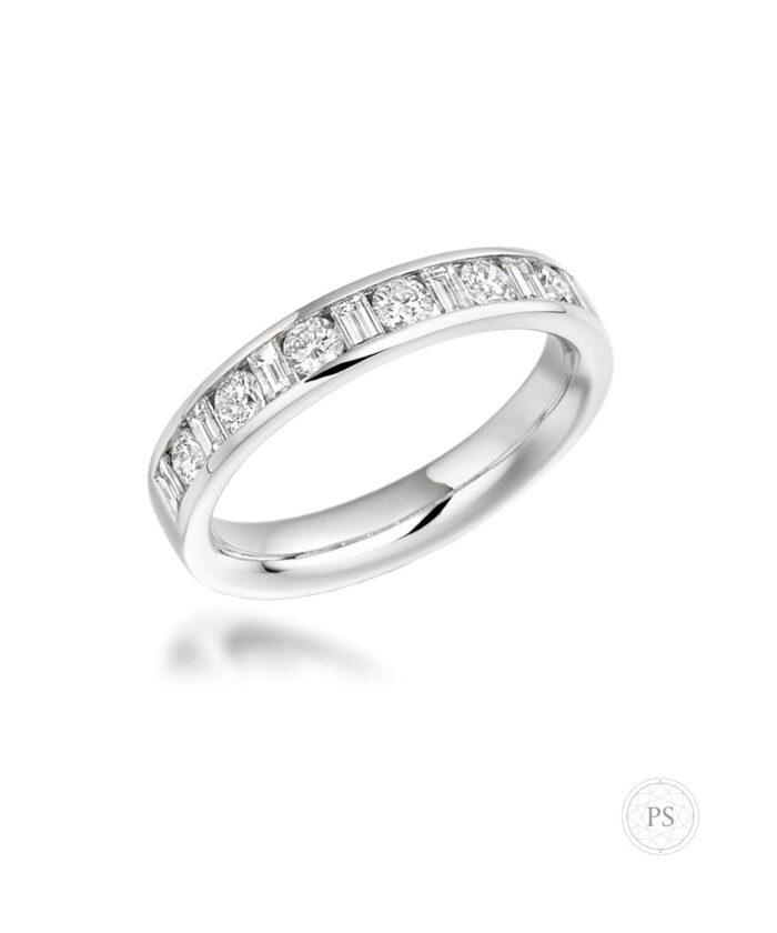 Platinum Round & Baguette Cut Diamond Eternity Ring