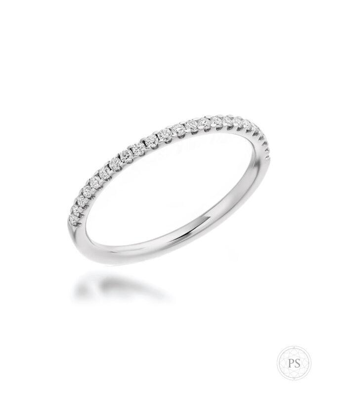 Platinum Skinny Claw Set Diamond Wedding Ring
